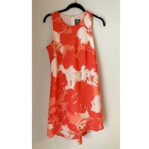 Vince Camuto Orange Floral Trapeze Dress